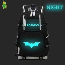 Batman Super Hero Luminous Backpack Canvas School Bags for Teens Men Women Casual Travel Rucksack Large Capacity Laptop Backpack(China)