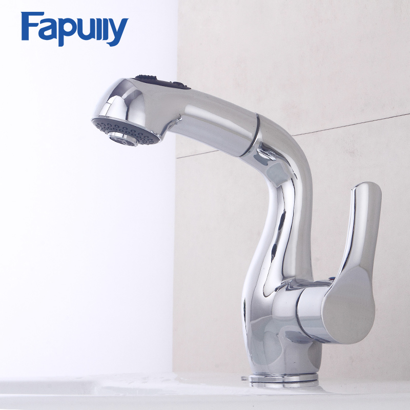 Fapully Kitchen Faucet Pull out Single Handle Deck mount Mixer Chrome Water Tap Kitchen Sink Faucet Taps Torneira Grifo цена и фото