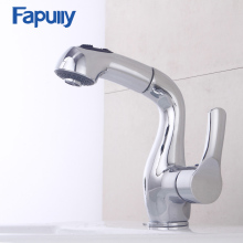 цена на Fapully Kitchen Faucet Pull out Single Handle Deck mount Mixer Chrome Water Tap Kitchen Sink Faucet Taps Torneira Grifo