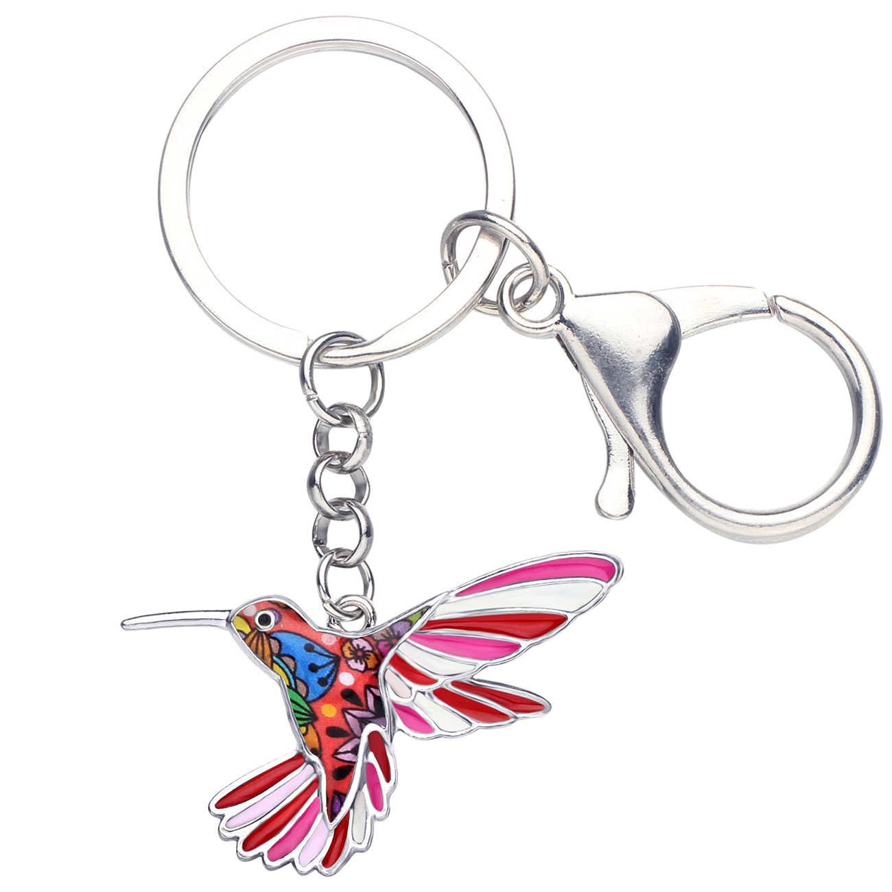 Bonsny Enamel Lichtmetalen Bloemen Kolibrie Vogel Sleutelhanger Sleutelhangers Ring Mode Dier Sieraden Voor Vrouwen Meisjes Zak Auto Charmes Geschenken