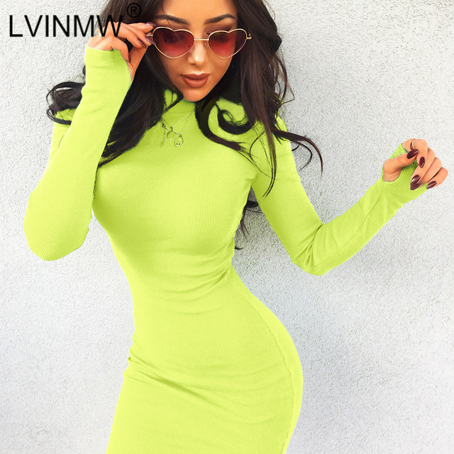 LVINMW Sexy Knitting Bodycon Dress 2018 Autumn Winter Women Long Sleeve  High Neck Slim Mini Dress Lady Office Dresses 5516efea7b44