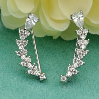 BELLA 925 Sterling Silver CZ Chic Teardrop Sweep Ear Vine Cuff Wrap Hook Earrings 1 Pair