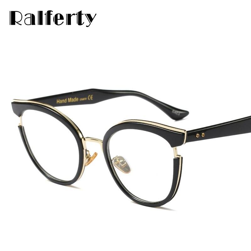 fefc06d6cf79a Ralferty Senhoras Da Moda Olho de Gato Óculos Vintage Preto Óculos Ópticos Quadros  Mulheres Óculos de