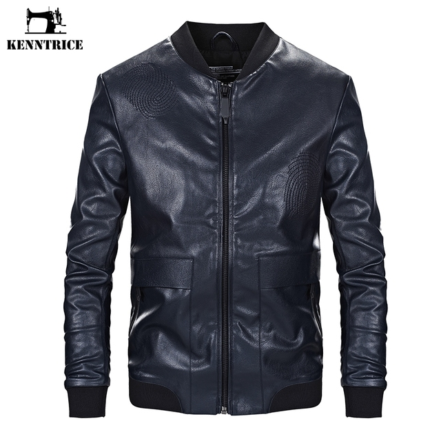 KENNTRICE Autumn Plus Size 4XL Faux Leather PU Jacket Coat Men Slim Fit Black Motorcycle Leather Jacket Embroidery Design