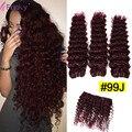 99j Бразильские Волосы Бордовый Красное Вино Свободные Глубокая Волна 100% Человеческих волосы Глубоко Вьющиеся Ткачество Дешево Мокрый И Волнистые 3 Пучки 8-30 дюймовый
