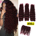 99j Brazilian Hair Burgundy Red Wine Loose Deep Wave 100% Human Hair Deep Curly Weaving Cheap Wet And Wavy 3 Bundles 8-30 Inch