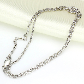 Authentic 18K Yellow White Rose Gold Necklace Cable Chain Link Sweater Chain For Women Lady Fashion Necklave 19.7inchL 2.9-3.1g 1