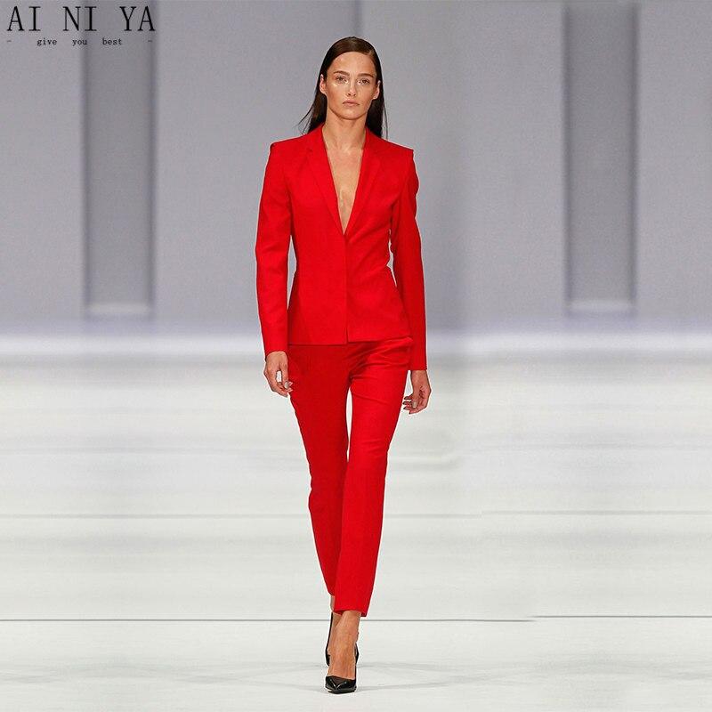 Costume de pantalon de femmes personnalisé rouge OL dames pantalon costume élégant botché tenue de soirée formelle costumes femmes costumes nouveau Design