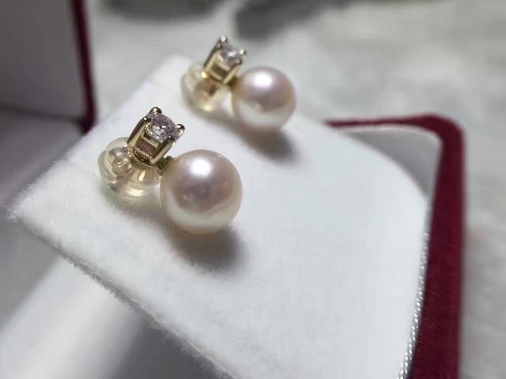 charming pair of 10-11mm round south sea white pearl earring 14k цена и фото