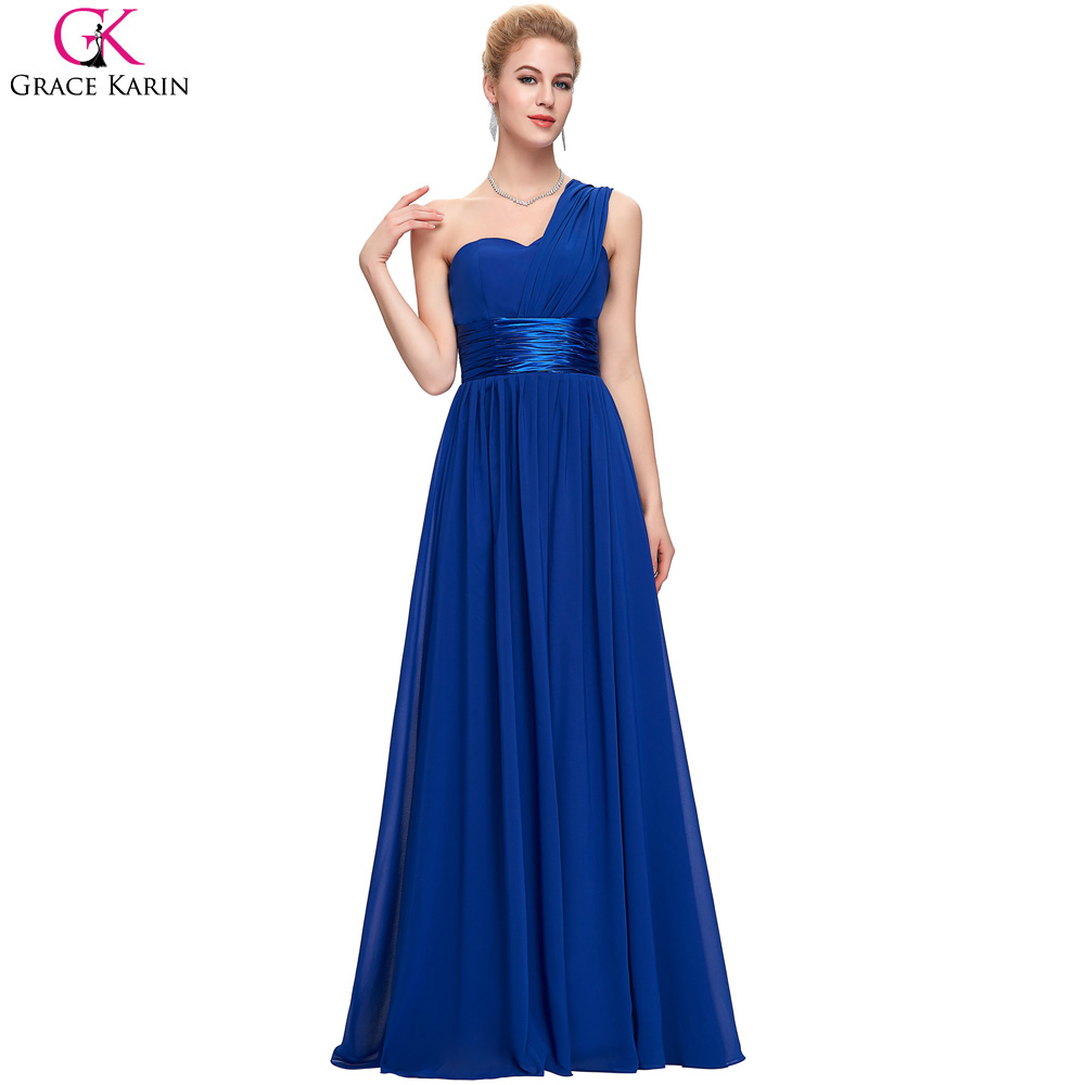 Grace karin one shoulder royal blue chiffon long evening for Dresses for afternoon wedding
