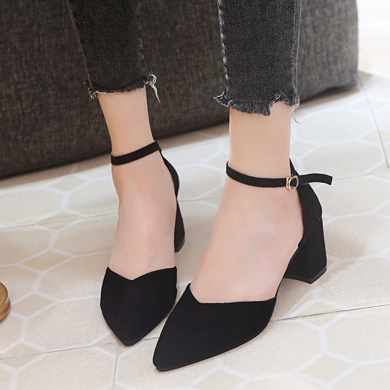 2019 Spring New Womens Shoes summer Fashion Sexy High Heels Pointed Suede Hollow Work Shoes Simple Square heel Buckle Shoes2019 Spring New Womens Shoes summer Fashion Sexy High Heels Pointed Suede Hollow Work Shoes Simple Square heel Buckle Shoes