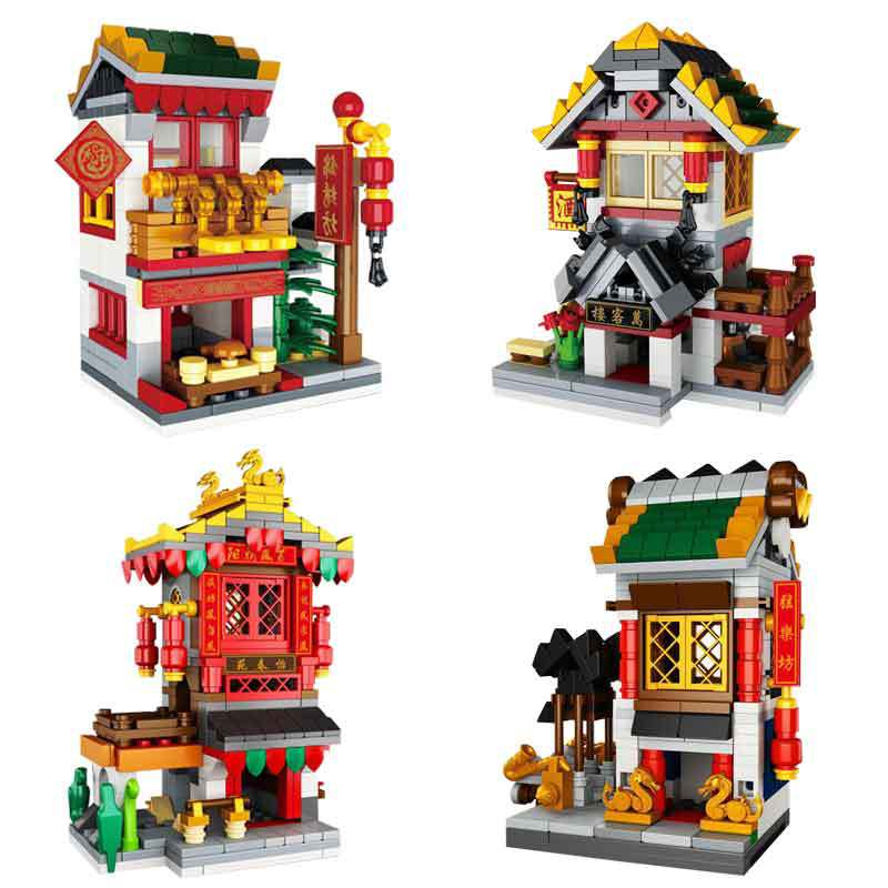 Lepin 03061 Building Series The countyard Wanke Tavern Samite Store String Hall Set 4 in 1 Building Blocks Bricks Toys ynynoo lepin 02043 stucke city series airport terminal modell bausteine set ziegel spielzeug fur kinder geschenk junge spielzeug