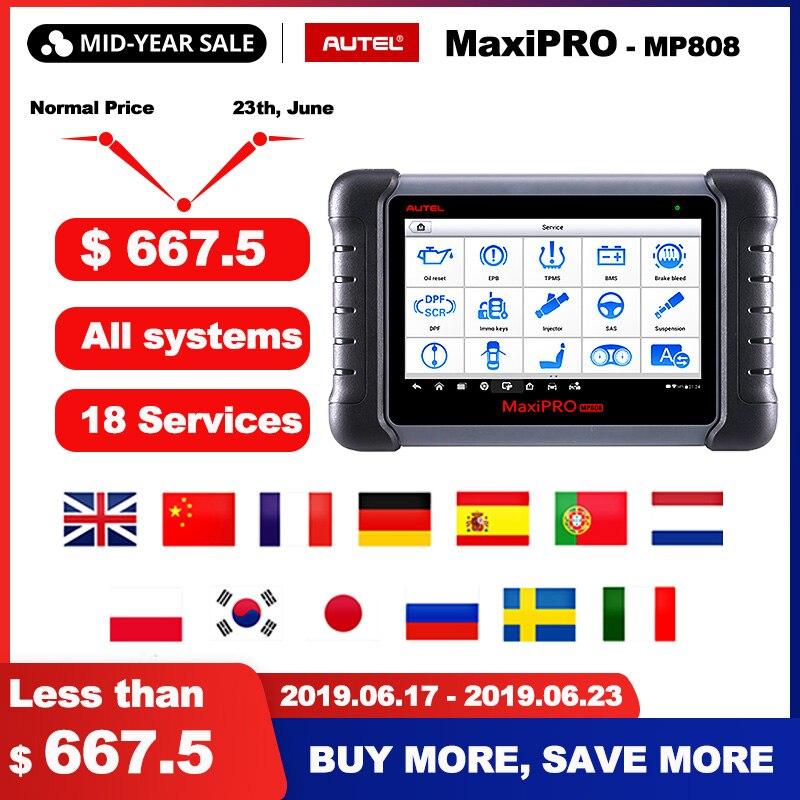 Ferramenta de Diagnóstico Autel MaxiPRO MP808 OBD2 OE-nível Profissional Autel Ferramenta de Diagnóstico OBDII Codificação Chave PK DS808 DS708 MS906 pro