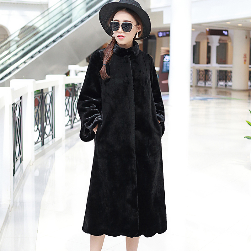 Image 4 - Nerazzurri Long faux fur coat women 2019 winter solid Stand Collar loose green black pink plush outerwear plus size 5XL 6XL 7XL-in Faux Fur from Women's Clothing