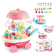 New Hot Children DIY Ice Cream Trolley Pretend Play Toy with Sound and