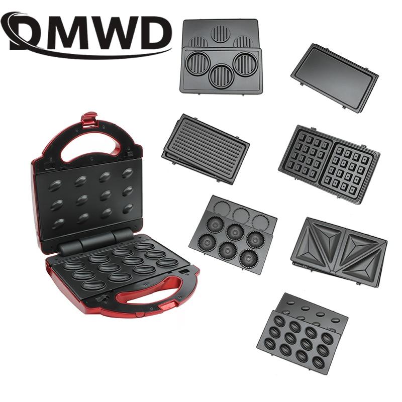 DMWD Multifunction Electric Egg Waffle Maker Donut Walnut Cake Machine Ice Cream Cone Sandwich Iron Toaster 7 Changeable Plates