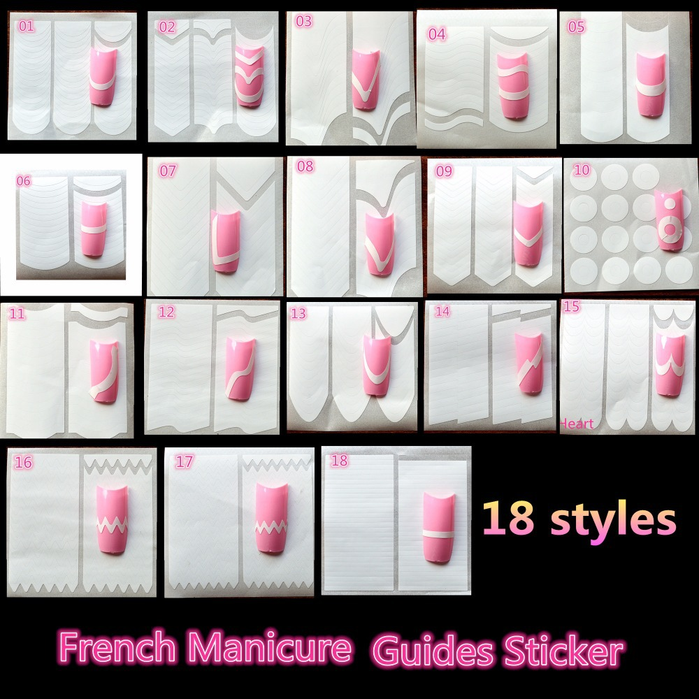 1 x hot selling french manicure nail art 18 style guide sticker 1 x hot selling french manicure nail art 18 style guide sticker diy stencil tip form fringe nails decal decorations lafj0118 in stickers decals from prinsesfo Choice Image