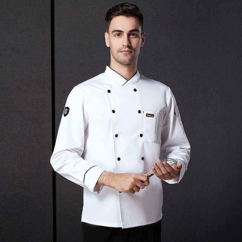 男性シェフ制服長袖調理制服作業服 Plu サイズのシェフコートウェイターの制服中国キッチンレストラン着用 D-0681