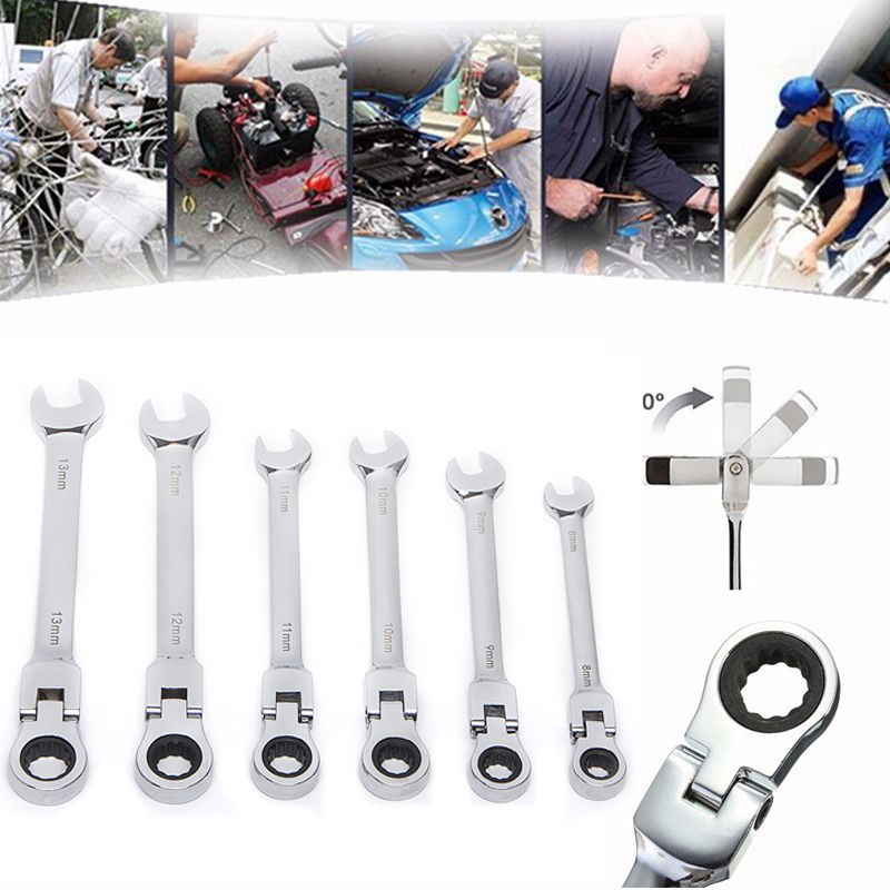 Hakkin 8-13mm Activities Ratchet Gears Wrench Set flexible Open End Wrenches Repair Tools To Bike Torque Wrench Spanner 6pcs set activities ratchet gears wrench set open end wrenches repair tools to bike torque wrench combination spanner allen keys