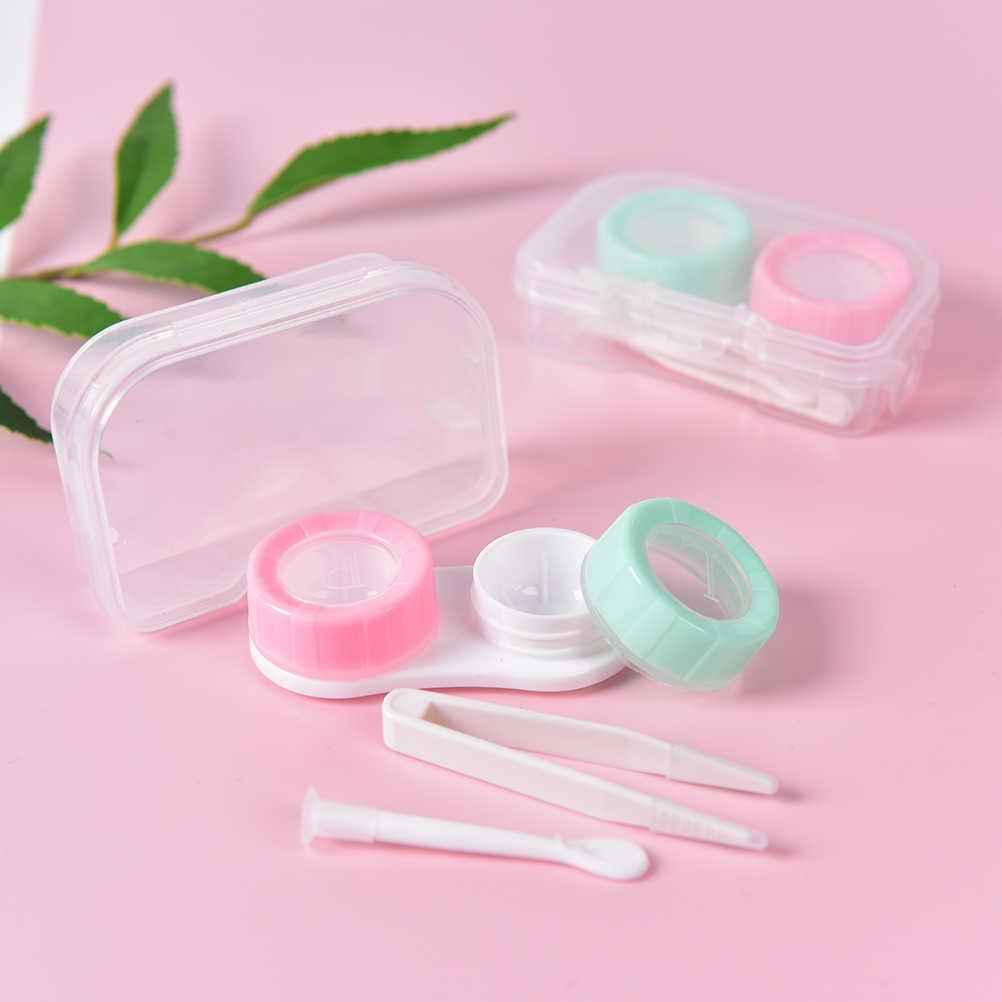Przenośny plastikowy pojemnik na soczewki kontaktowe uchwyt z mini pęsetą Stick Eyewear Bag pojemnik soczewki kontaktowe moczyć losowy kolor
