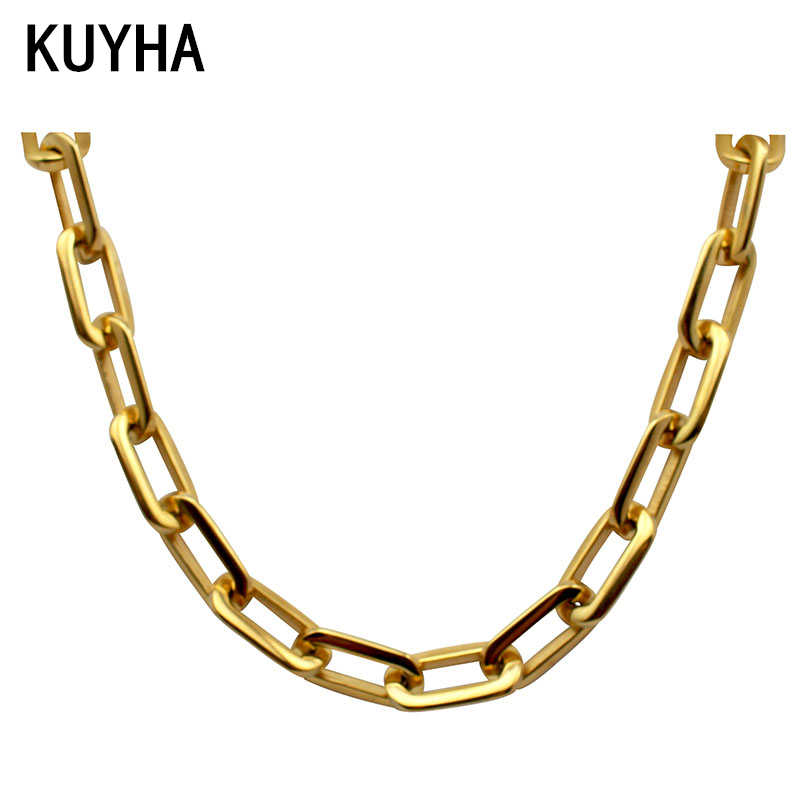 Casual Mirror polish silver Never fade 316L stainless steel long square chain connected box chain link necklace for women 47.5cm