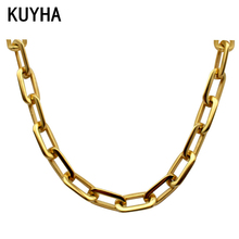 Mirror Polish Silver Never Fade 316L Stainless Steel Long Square Chain Connected Chain Link Necklace for Women
