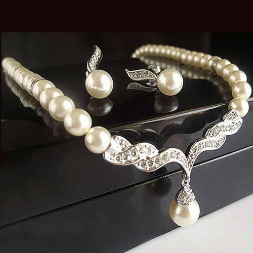 Bridal Angel Wings Faux Pearls Necklace Studs Earrings Jewelry Set for Wedding A89U
