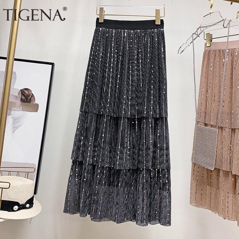 796eecb70 TIGENA Fashion Long Maxi Sequin Skirts Women 2019 Summer Korean High Waist  Pleated Skirt Female Glitter