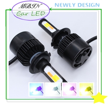 MX4 led headlight H3 kit COB 8000LM 36W yellow white pink blue and flash in one lamp auto colors change fog lamp driving bulbs