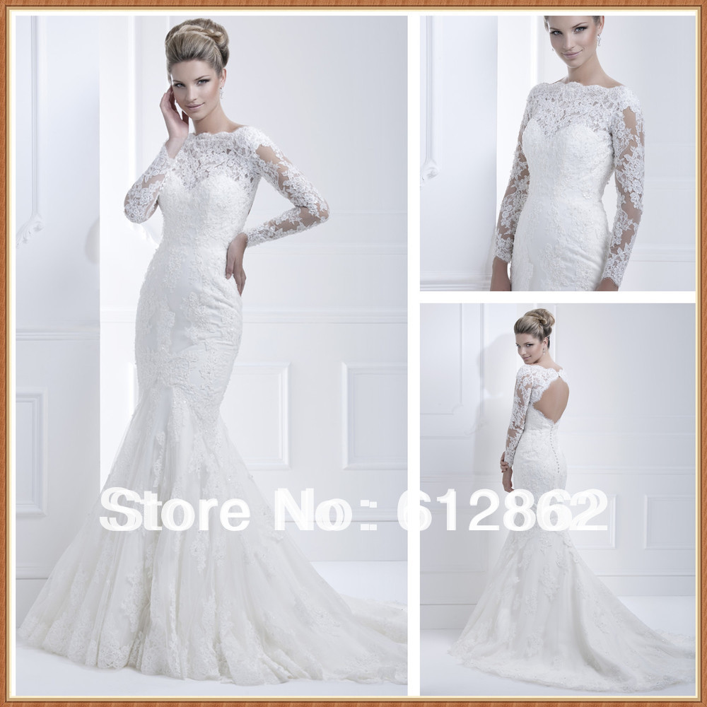 Elegant long train cut back beaded mermaid long sleeve for Elegant wedding dresses with long sleeves