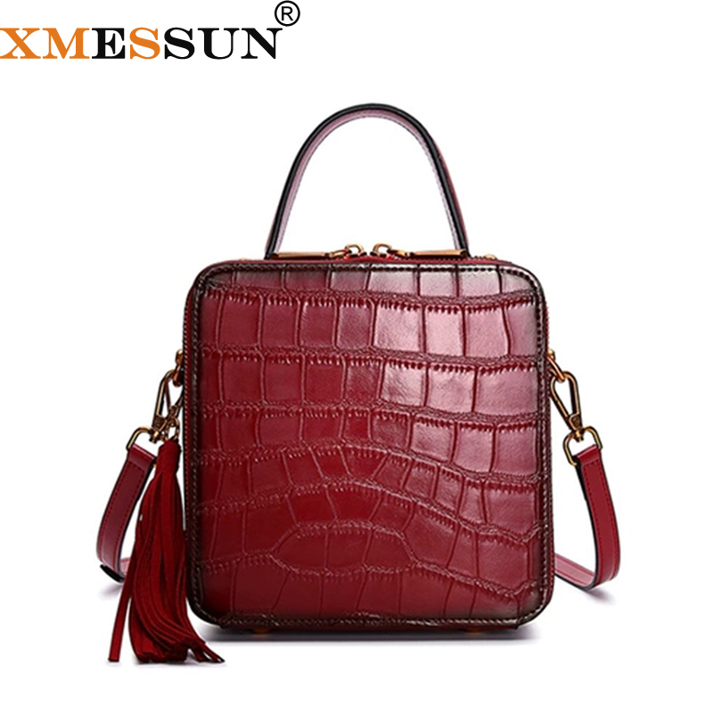 XMESSUN Genuine Leather Crocodile pattern Bag Female Retro Tassel Small Square Handbag Women Snake Shoulder Messenger