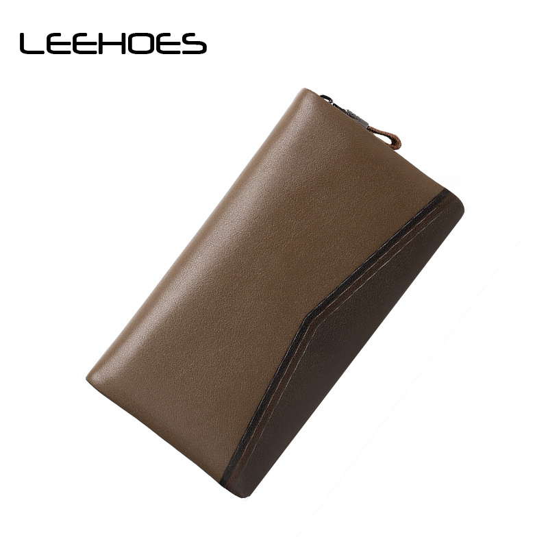 New Arrival Men Wallets Casual Zipper Wallet Men Purse Clutch Bag Brand Cowhide Leather Wallet Long Design Men Bag Gift for Men new oil wax leather men s wallet long retro business cowhide wallet zipper hand bag 2016 high quality purse clutch bag page 8
