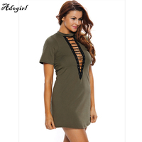 Hot Sale T Shirt Dresses Women Autumn Summer Casual Sexy Army Green Lace Up Half Sleeves