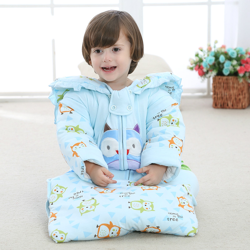 Baby sleeping bag autumn and winter section of cotton thickening detachable sleeve new anti-kick by children sleeping bags sky blue cloud removable hat in the long section of cotton clothing 2017 winter new woman
