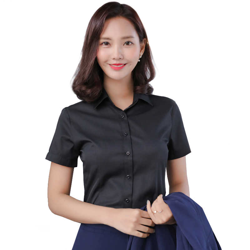 Office work shirts social women solid color shirt blouses slim fit 60% cotton white blue black color short sleeve blusa feminina