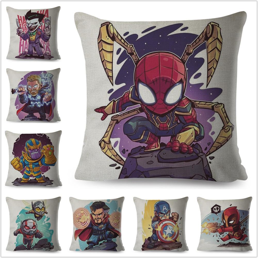 Cartoon Marvel Super Hero Superman Pillow Case Linen Cushion Cover For Sofa Home Decor Avengers X-Men Deadpool Pillowcase