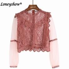 Designer Shirts for Women Top Brand Pink Black Lace Blouse Elegant Stand  Collar Transparent Lace Trim edbb00eb3ad0