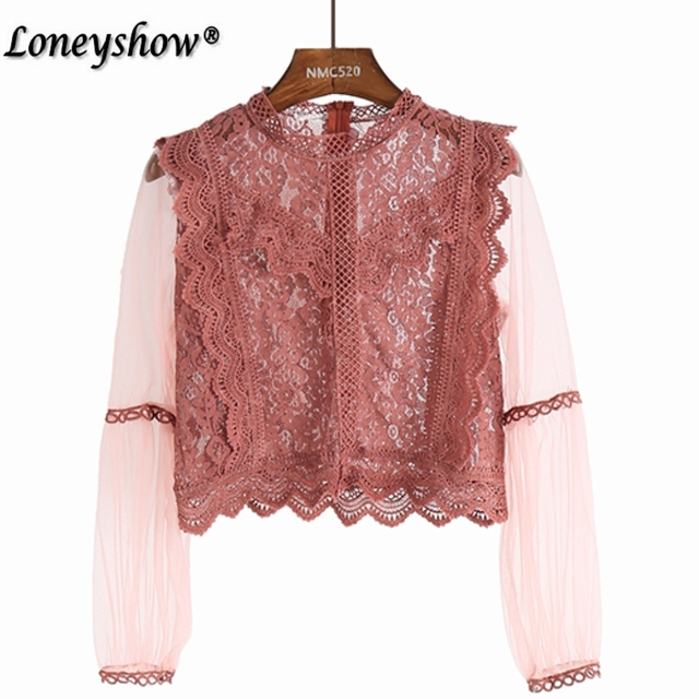 e3f5596a5035c2 Designer Shirts for Women Top Brand Pink Black Lace Blouse Elegant Stand  Collar Transparent Lace Trim