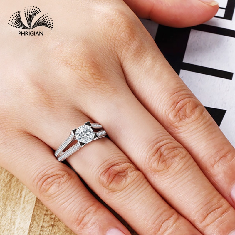Sona NOT FAKE Fine Engraving Ring S925 Sterling silver Diamond Custom ring Original Design 925 round cut 4 claws