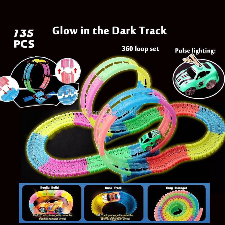 Flexible montage spuren system 360 stunt schleife action Bunte helle glow in the Dark Glow rennstrecke mit puls beleuchtung auto