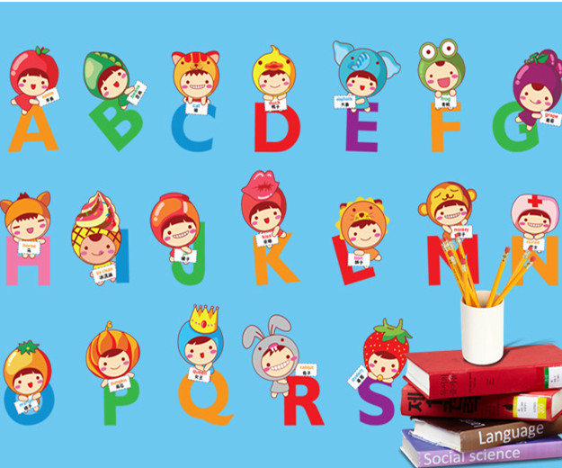 Cartoon Learning To Read Animal Letters Education Alphabet Wall Sticker School Kids Rooms Home Decor Home decoration Wallpaper