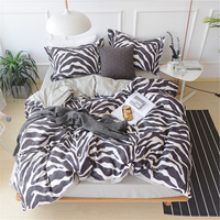 100% Cotton Zebra Stripes Feather Flower Elk Animal Plants Pattern Duvet Cover Bed Sheet Set AB Version Design Bedding Set
