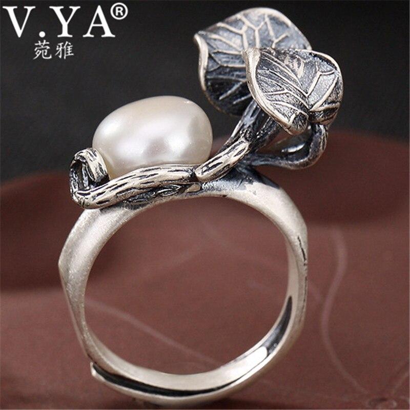 V. YA Vintage argent feuilles anneau pour les femmes à la main réglable anneaux 990 Bijoux en argent Sterling bague Bijoux