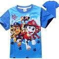 4-8 Años de Algodón Niños Camiseta de Los Muchachos de Dibujos Animados Patrulla Tops Y camisetas del Verano de Los Niños Ropa de Bebé de Manga Corta Camiseta Para Niño azul