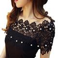 Cordón de la manera Mujeres de la Camiseta elegante que rebordea la perla Del Hombro encaje camiseta Remata camisetas slash cuello delgado cordón femenino Camisetas