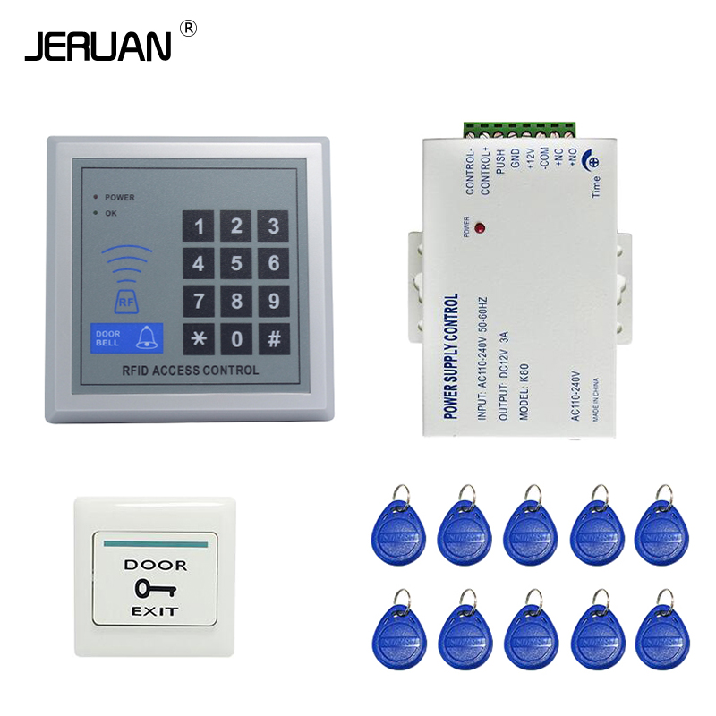 JERUAN Cheap! Brand NEW Rfid Door Access Control System + Power Supply Controller + Rfid Keypad + Exit Button IN STOCK brand new in stock 12vdc 3a portable mini power supply module for door access control system video intercom free shiping