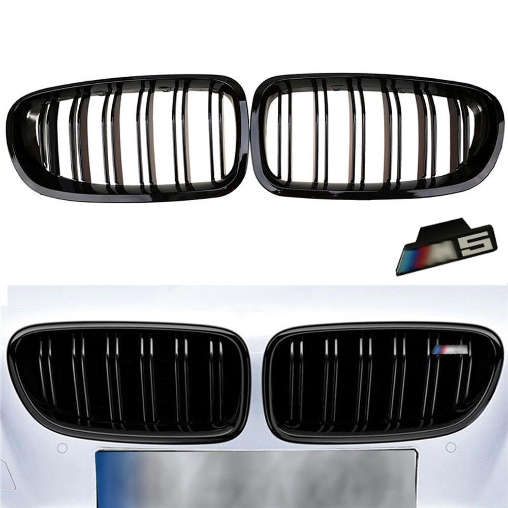 2010-2016 For BMW Sedan F10 F11 M5 525i 530i 535i Gloss Black Front Kidney Twin FIns Bumper Griil Grille With Emblem