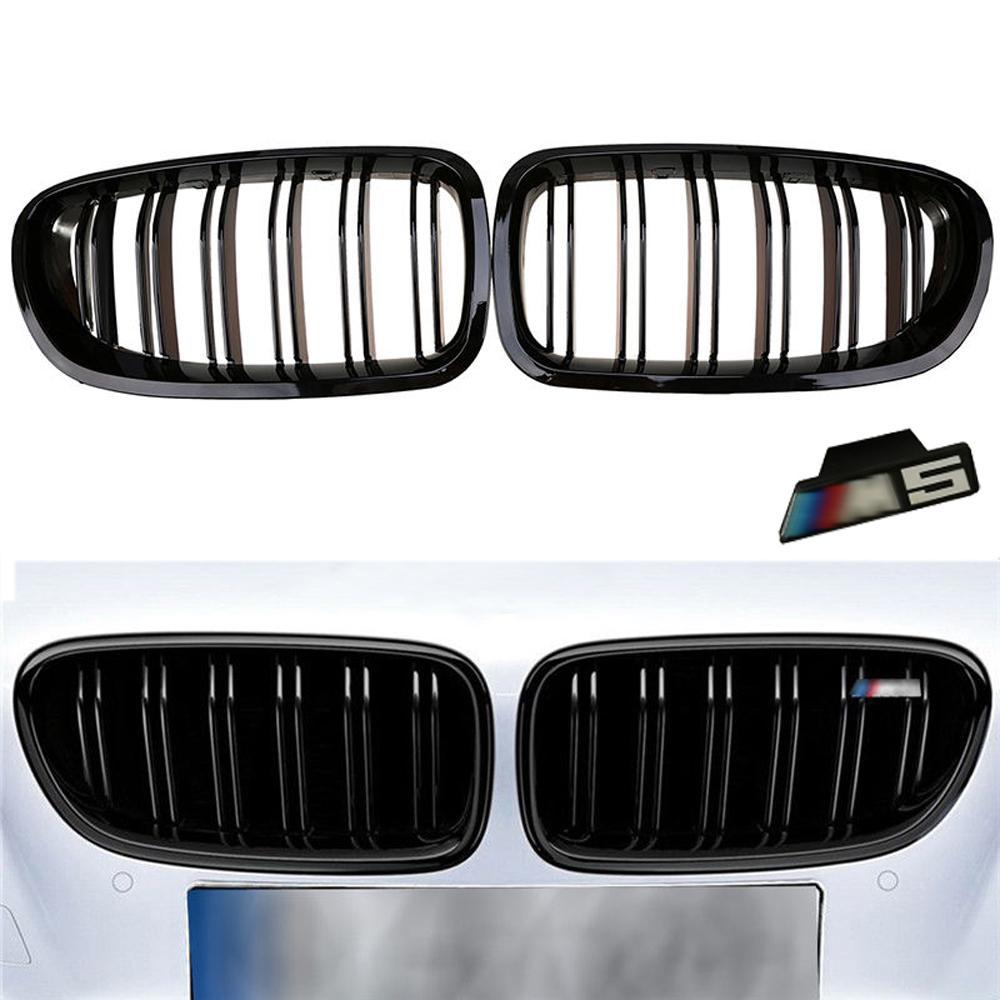 2010-2016 Pour BMW Berline F10 F11 M5 525i 530i 535i Brillant Noir Avant Rein Deux Ailerons Pare-chocs Griil grille Avec Emblème