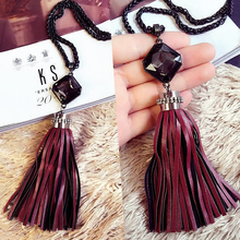 2017 tassel pendant New Women Multi Crystal Sweater Chain Temperament Female Long All-match Accessories Pendant Necklace X60-3