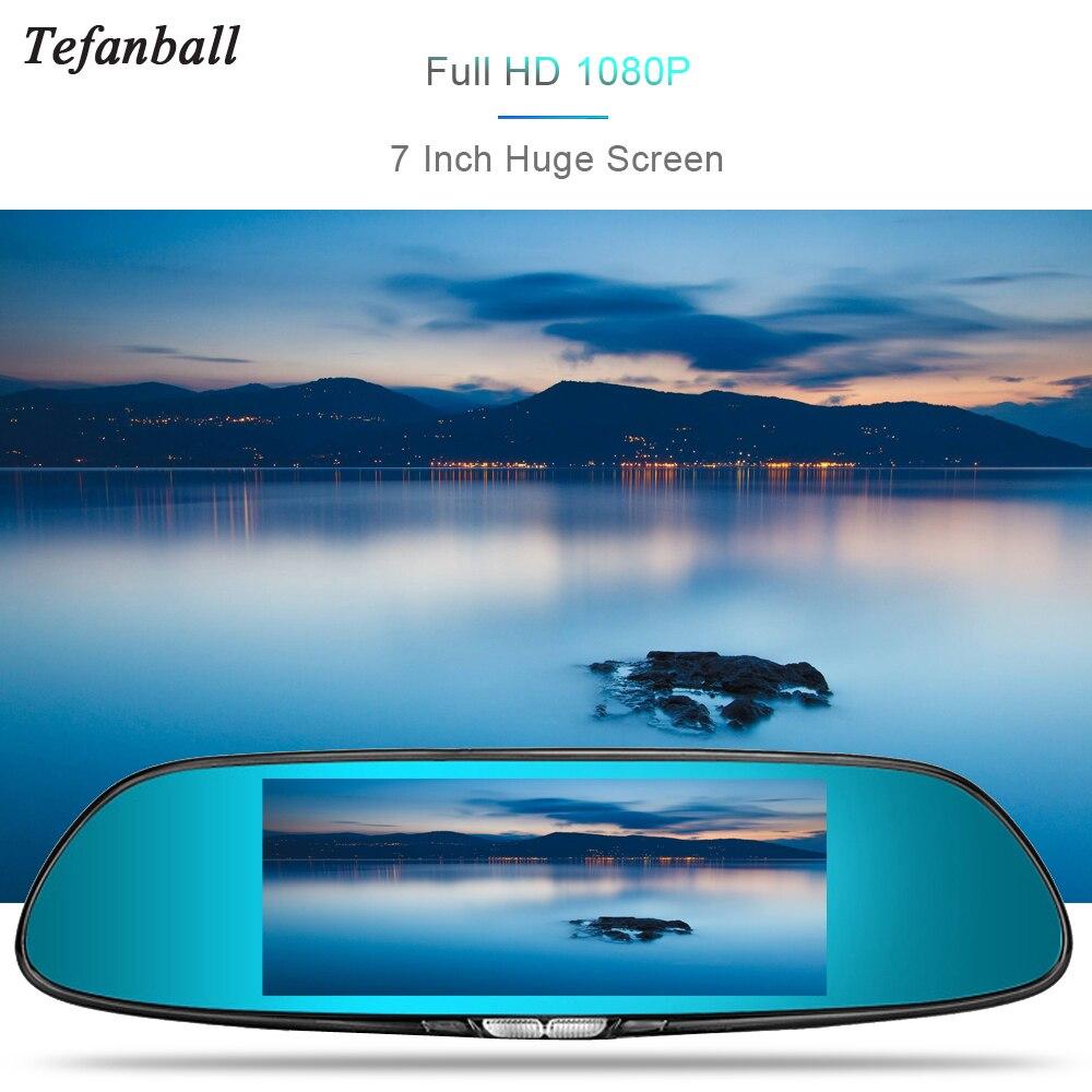 Tefanball 7.0 inch Touch Screen car dvr camera rearview mirror dvrs dual lens recorder night vision dash cam FHD 1080P